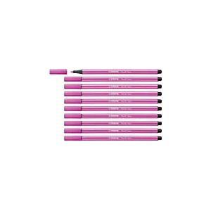Feutre de dessin - STABILO Pen 68 - Lot de 10 feutres pointe moyenne - Rose fluo (68/056)