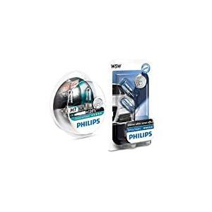 Philips X-tremeVision Ampoules de Phare Avant +130% H7 (set de 2) + Philips 681372 Ampoules Xenon White Vision 2 W5W, 12 V