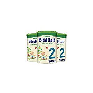 Blédina Blédilait 2ème âge - Lait de suite en poudre, dès les 6 mois et jusqu'aux 12 mois de bébé - Pack de 3 Boîtes de 900 g