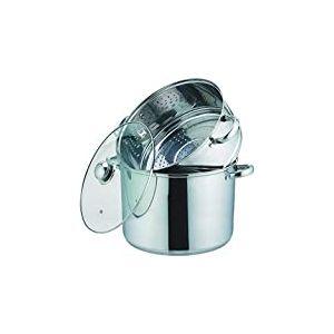 Kamberg - 0008071 - Couscoussier / Cuit Vapeur / Faitout 3 en 1 -Diamètre 24 cm - 8 Litres - Acier Inoxydable Haute Qualité - Couvercle en verre - Tous feux dont induction