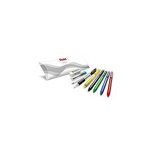 Pentel Pack Rentrée contenant 10 pièces : 4x stylos bille rétractables noir/rouge/bleu/vert, 2x recharges bleu, 1x surligneur rétractable jaune, 1x porte-mines, 1x étui de 12 mines HB, 1x mini gomme