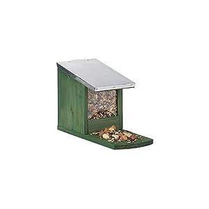 Relaxdays, Mangeoire en bois, toit en métal étanche, à poser, Hutte pour écureuil, vert foncé