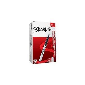 Sharpie Retractable Marqueur Pointe Fine Noir, Lot de 12