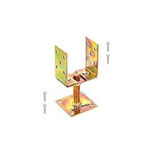 KOTARBAU® Support de Poteau en U 80 – 120 mm Pied De Poteau Manchon De Sol Poteau Vis Sur Pied De Sol Hauteur Réglable Plaque Or Galvanisé