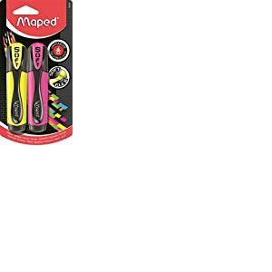WIGO Fluo Peps Highlighter Ultra Soft X2 Jaune + Couleurs Assorties