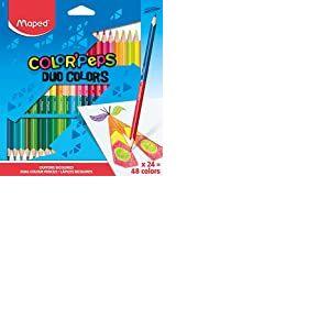 Maped Color'Peps Crayons de Coloriage en Bois 2 en 1 Duo de Couleur - Etui de 24 Crayons de Couleurs Double Mine Résistante pour 48 Couleurs