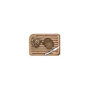 PEBBLY - NBA102 - Grande planche à pain L en bambou blanche avec grille amovible - Matériau naturel et résistant