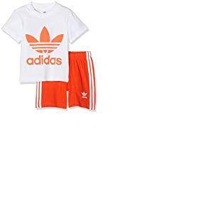 adidas Ensemble de Short et t-Shirt Unisexe pour bébé S Top:White/Active Orange Bottom:Active Orange/White