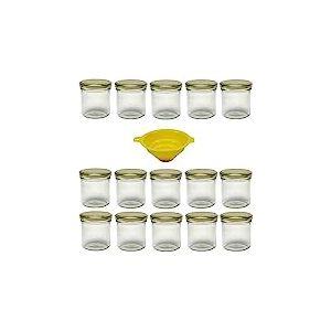 Viva Haushaltswaren #23563 Lot de 15 Petits bocaux de Confiture avec couvercles dorés 167ML Entonnoir Jaune avec Dispositif d'arrêt Inclus