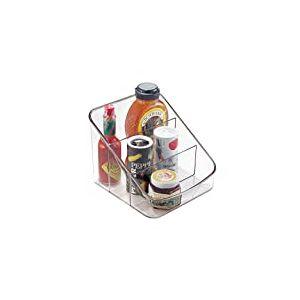 iDesign boîte de rangement à 3 compartiments, grand bac plastique pour aliments emballés ou épices, bac alimentaire, transparent