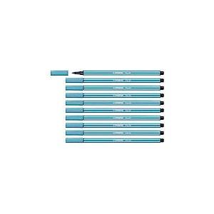 Feutre dessin - STABILO Pen 68 - Lot de 10 feutres pointe moyenne - Bleu clair (68/31)