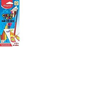 Maped Color'Peps Crayons de Coloriage en Bois 2 en 1 Duo de Couleur - Etui de 12 Crayons de Couleurs Double Mine Résistante pour 24 Couleurs