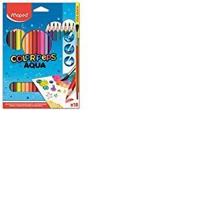 Maped Color'Peps - Crayons de Coloriage Aqua pour Aquarelle Mine Résistante - Set de 18 Crayons de Couleurs Aquarellables + 1 pinceau
