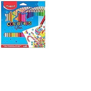 Maped - Crayons de Couleur Color'Peps Classic - 48 Couleurs Vives - Crayon Triangulaire Ergonomique - Conforme à la Réglementation des Jouets - Pochette Carton de 48 Crayons en Bois