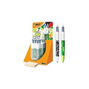 BIC 4 Couleurs Velours Stylos-Bille Rétractables Pointe Moyenne (1, 0 mm) - Motif Jungle, Tubo de 30