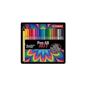 """Feutre de dessin - STABILO Pen 68 - Boîte métal x 20 feutres pointe moyenne - décor """"Premium"""" - Coloris assortis"""