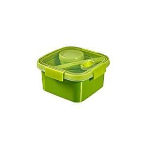 CURVER 232572 Smart Lunch Box carrée 1,1L avec Couverts, Plastique, Vert, 17 x 17 x 9 cm