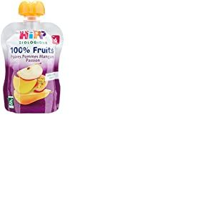 Hipp Biologique 100% Fruits Poires Pommes Mangues Passion  dès 6 mois - 6 gourdes de 90 g
