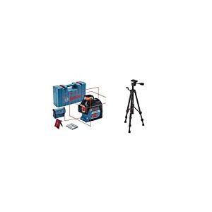 Bosch Professional mètre laser GLL 3-80 (portée : jusqu'à 30 m, 4 piles AA, dans coffret de transport) + 0601096B00 Trépied BT 150 1/4