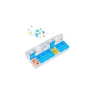 Relaxdays Pilulier 7 Jours 2 Compartiments boîte médicaments semainier Matin Soir comprimés, Blanc Bleu