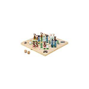 Small Foot 6257  Ludo «Animaux de la Ferme» en bois, jeu de société Ludo avec des animaux comme figurines, à partir de 3 ans