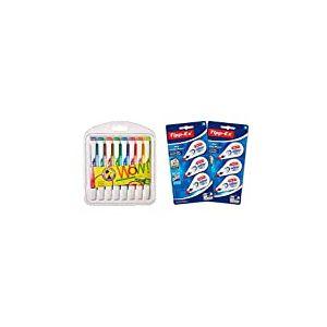 Surligneur - STABILO swing cool - Pochette de 8 surligneurs - Coloris assortis & BIC 962703 Lot de 6 Mini Pocket Mouse Rubans Correcteurs