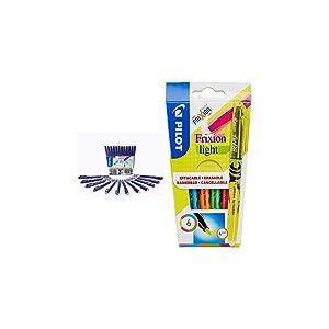 Pilot FriXion Fineliner - Feutre - Pochette de 12 - Couleurs assorties - Pointe Fine & Pochette de 6 FriXion Light - Surligneur - Jaune/Rose/Vert/Bleu/Orange/Violet - Pointe moyenne
