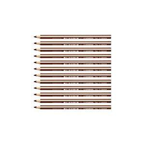STABILO Trio thick - Lot de 12 crayons de couleur triangulaires - Marron