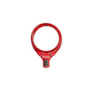 Câble antivol flexible pour vélo avec serrure à code, combinaison programmable, longueur 0,90m, rouge