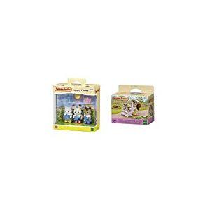 Sylvanian- Nursery Friends Families Les Amies De Creche, 5262, Multicolore & 4533 - Poussette Double - Poupées et Accessoires - Sylvanian