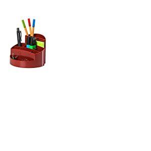 HAN 17460-17- Pot à crayons RONDO- élégant- haute brillance- qualité Premium- avec 9 cases- rouge