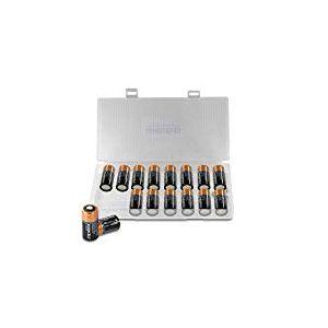 Duracell CR123 Lot de 16 Piles Lithium Haute Puissance CR123 A EL123 V123 CR17345 CR123A 3 V Blanc - More Power + Boîte de Protection de Batterie 16 pièces