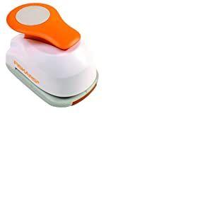 Fiskars Perforatrice à levier, Cercle, Ø 2,5 cm, Convient aux droitiers et aux gauchers, Acier de qualité/Plastique, Blanc/Orange, À levier, M, 1004748