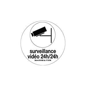 Novap 4021270 Panneau motif Surveillance Vidéo 24/24H, Blanc