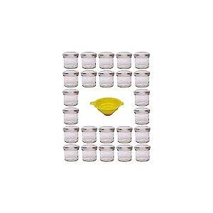 Viva Haushaltswaren G1130125/24T/silber/X Lot de 24 Petits bocaux de Confiture avec couvercles argentés 125ML Entonnoir de Remplissage Jaune avec Dispositif d'arrêt Inclus