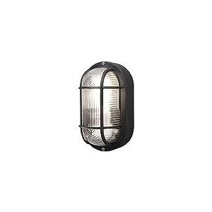 Konstsmide Emas Applique Murale en Verre Transparent strié E27 Ovale Oval Noir