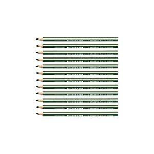 STABILO Trio thick - Lot de 12 crayons de couleur triangulaires - Vert foncé