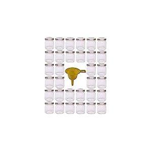 Viva Haushaltswaren Lot de 32 Mini bocaux à Confiture avec couvercles vissables et Entonnoir Argenté 53ML