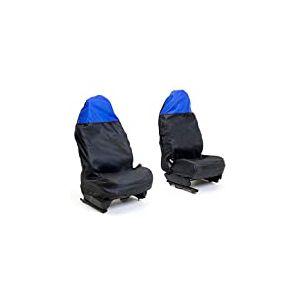 Auto Companion - AUTOC-44 Lot de 2housses de sièges avant étanches, format universel, Noir et bleu