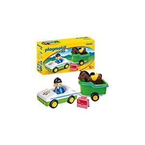 Playmobil 70181 1.2.3 Voiture avec remorque de Chevaux, Multicolore - Version Allemande