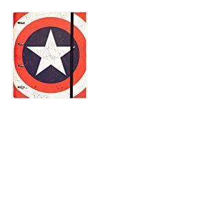 Erik - Classeur 4 Anneaux Marvel Captain America - Couverture Rigide - 26x32cm