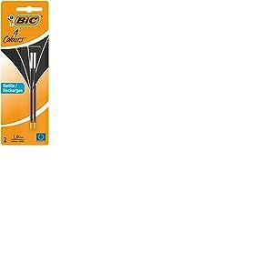 BIC 4 Couleurs Recharges pour Stylo-Bille Pointe Moyenne (1,0 mm) - Noir, Blister de 2