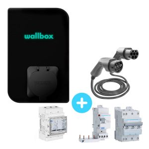 Pack Borne de recharge WALLBOX Copper SB 22kW - Bluetooth - Wifi - RFID + Module gestion de charge + Protections + câble