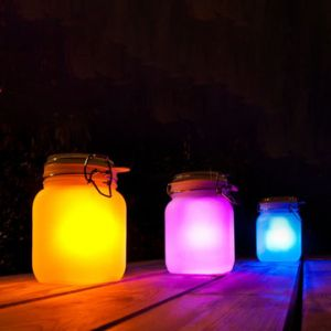 Loskii DX-818 Changeable Colorful Solar Power Glass Sun Jar Wedding Favors Gifts Party Home Decor