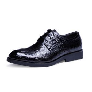 Men Pointed Toe Crocodile Pattern Lace up Leather Dress Formal Shoes