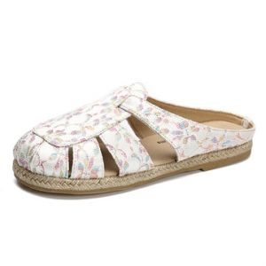 Folkways Hollow Out Flax Breathable Flat Slippers