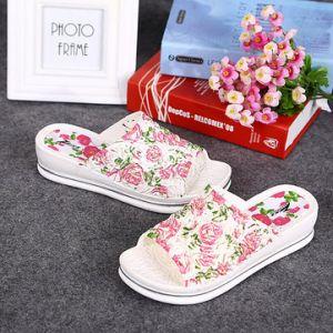 Floral Print Platform Peep Toe Summer 3D Slip On Beach Outdoor Slippers