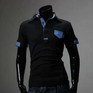 Mens Fashion Contrast Color Front Little Pocket Short Sleeve Polo T-Shirt
