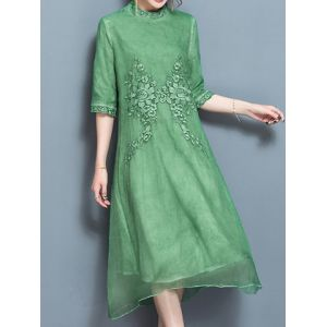 Vintage Women Embroidered Back Zipper Stand Collar Dresses