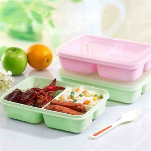 3 Compartments Student Lunch Bento Box with Spoon Student Portable Microwave Lunch Storage Box